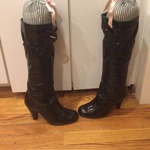 Restricted Shoes - Patent heeled tall boots