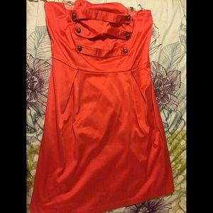Plus size Ashely Stewart strapless coral dress