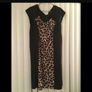 Plus size Leopard and black cocktail dress