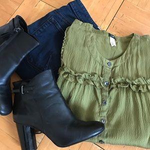 J Crew silk green blouse shirt