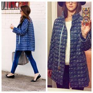 J Crew Factory blue tweed coat