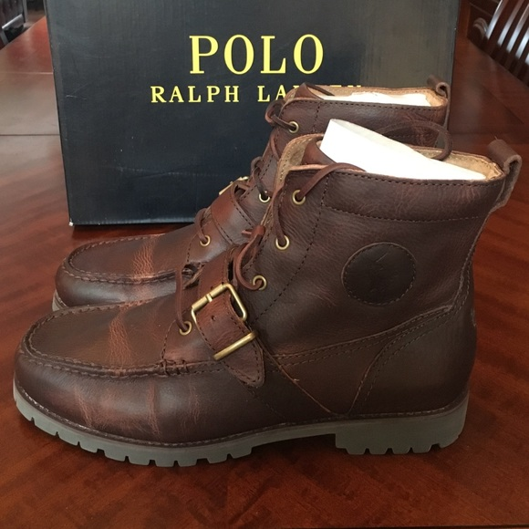 size 40 a811e 69216 Ralph Lauren Polo brown leather boots men new 10.5