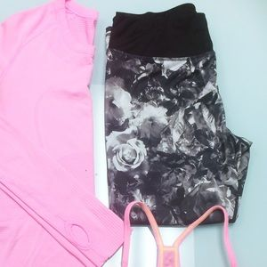 Betsey Johnson Performance Rose Print Crops