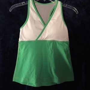 Lululemon racer back green white workout top