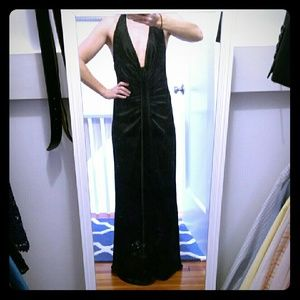 ABS evening gown black plunge neck rouched