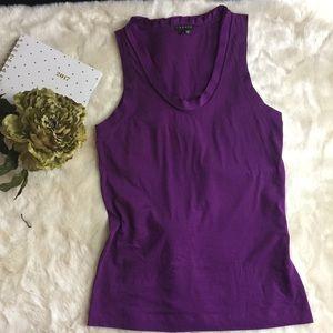 Theory sz XS Purple Ruffle Collar Tank Eggplant