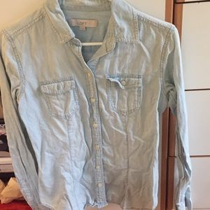 LOFT light Chambray Button Down size XS
