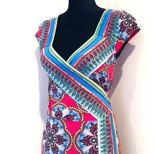 NICOLE MILLER Patterned Wrap Dress
