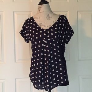 Anthropologie Tops - Anthropologie Polka Dot Mixed Material Top