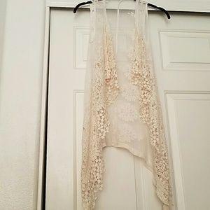 Cream lace sleeveless cardigan