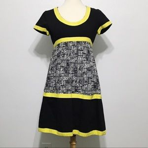 Black and yellow babydoll dress