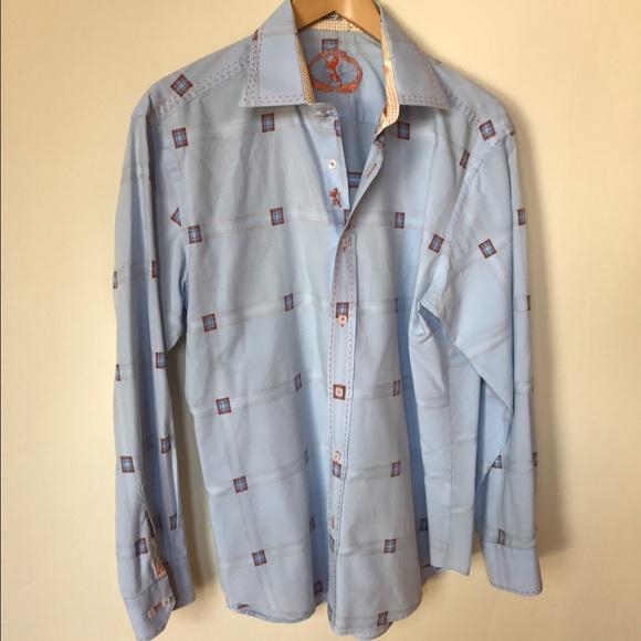 Bugatchi Mens Fitted Long Sleeve Gridlock Design Cotton Shirt