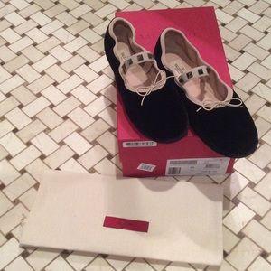 Valentino Shoes - 🎀HP🎀Valentino Rockstud Black Velvet Ballet Flats