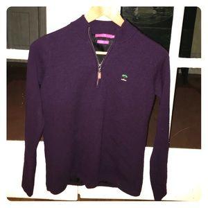 Peter Millar Sweaters - Peter Millar Purple Merino Wool QuarterZip Sweater