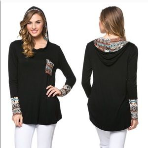 The KARALYNN tribal print hoodie - BLACK