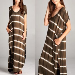 KANA tie dye boho chic dress - OLIVE