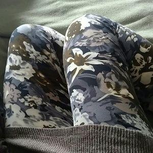 FLASH SALESOFT* Neutral Floral Print Leggings