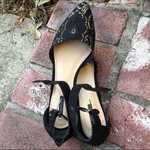 Black Lace Ankle Strap Flats