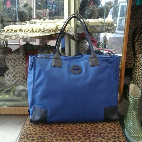 bd38588c0ea Tory Burch blue Ella Packable tote purse. M 58755e9d3c6f9f905b01c31f