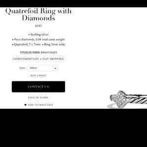 David Yurman petite pave ring with diamonds