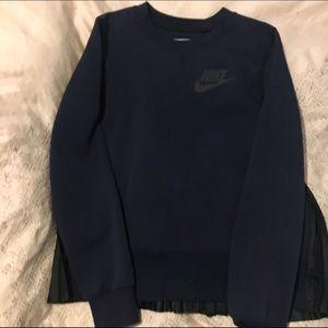 NIKELAB X SACAI TECH FLEECE PLEATED Navy sweater NWT