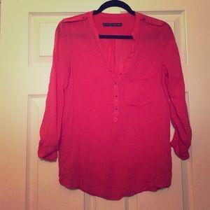 Zara Basic Hot Pink Blouse