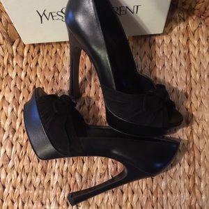 Yves Saint Laurent Shoes - New YSL Suede & Leather Palais Peep Toe Pump 40