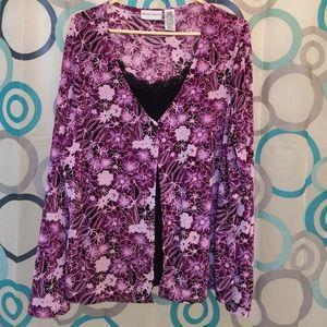Jaclyn Smith Tops - Jaclyn Smith top 2 piece look  purple XL