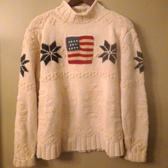 b2b7ed496 Vintage Ralph Lauren Polo Sport Cable Knit Sweater.  M 58756b1bea3f36bf6d17a88d