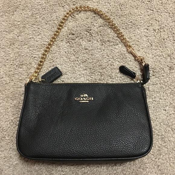 e328a39bdb5 Coach Bags | Small Leather Black Purse With Gold Chain | Poshmark