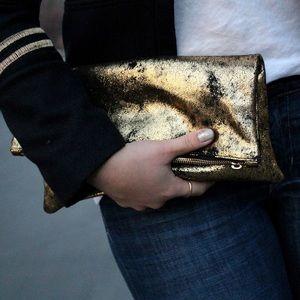 Clare Vivier Handbags - Clare Vivier Gold & Black Foldover Clutch