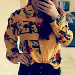 Vintage Peter Martin silk blouse love floral print