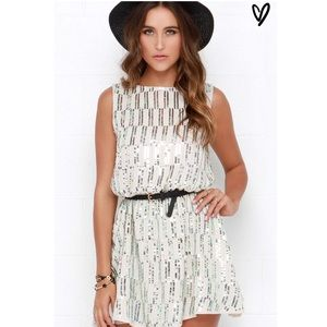 Lulu's Dresses & Skirts - Beige Backless Sequin Dress