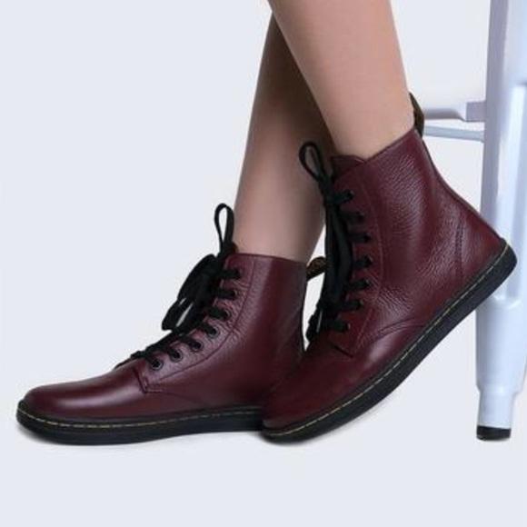 Dr. martens Leyton 7 eye boots burgundy cherry red