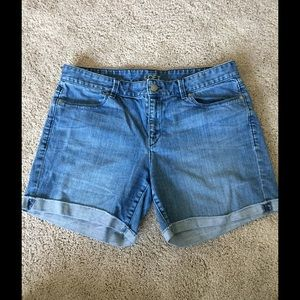 LOFT denim shorts with cuffs.