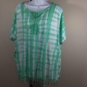 Chaps Tops - NWT🌴Sea Green & White Tye Dye Fringed Top🌴