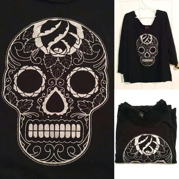 torrid Tops - GUC Glitter Skull Long-Sleeve Shirt