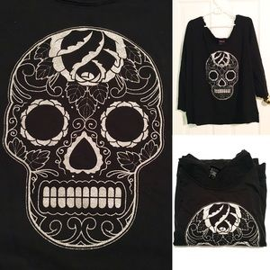 GUC Glitter Skull Long-Sleeve Shirt