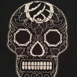 torrid Tops - GUC Glitter Skull Long-Sleeve Shirt