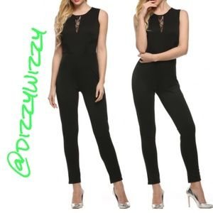 Pants - SLEEVELESS JUMPSUIT W/LACE INSET
