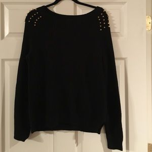 Express Sweaters - Black sweater with gold stud detail