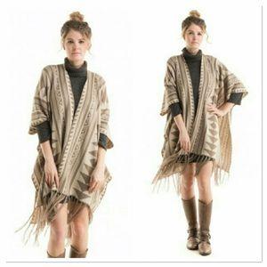 Fashionomics Sweaters - ✨SALE✨ Aztec Poncho OS- khaki