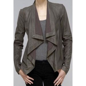 Vince Cowl Leather Jacket in Elephant