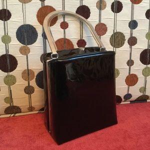 Vintage Black Purse, Metal & Lucite Handle