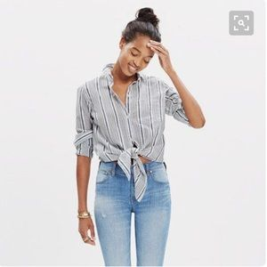 Madewell Tops - Madewell Tie Waist Stripe Top. Size L.