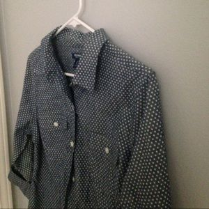 Old navy chambray polka dot button down