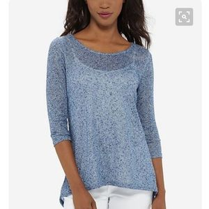 The Limited Sweaters - Blue tunic top with lace back detail. Size L.