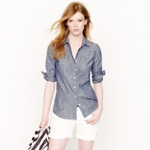 J crew polka dot chambray shirt