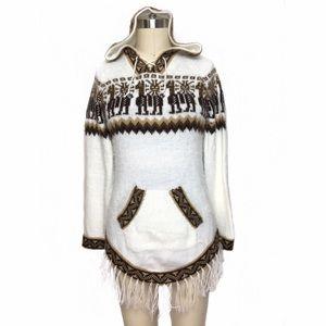 Vintage Sweaters - VINTAGE ALPACA FRINGE SWEATER FROM ECUADOR!!
