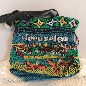 Fully beaded Jerusalem rare purse tote bag